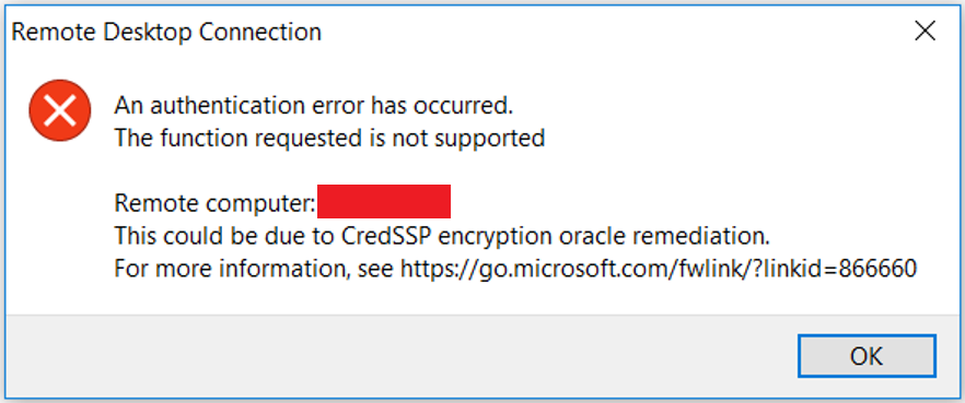 Remote Desktop Connection: An authentication error has occurred. The